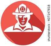 fireman flat icon  fire fighter  | Shutterstock .eps vector #407147818