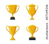 trophy gold cup  bit design.... | Shutterstock .eps vector #407149246