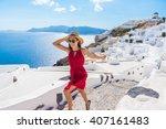 travel tourist happy woman... | Shutterstock . vector #407161483