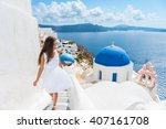 santorini travel tourist woman... | Shutterstock . vector #407161708