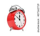 red alarm clock on white. 3d... | Shutterstock . vector #407162719