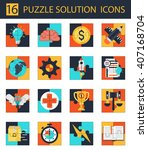 puzzle solution icons | Shutterstock .eps vector #407168704