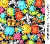 seamless travel kawaii pattern... | Shutterstock .eps vector #407172490