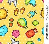seamless travel kawaii pattern... | Shutterstock .eps vector #407172514