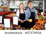 portrait of positive mature... | Shutterstock . vector #407174926