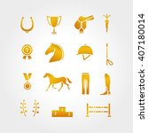 horse equipment icon set thin...