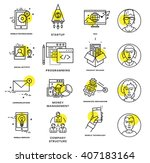 thin line icons set. business... | Shutterstock .eps vector #407183164