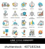 thin line icons set. business... | Shutterstock .eps vector #407183266