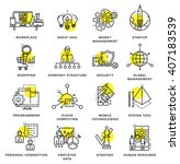 thin line icons set. business... | Shutterstock .eps vector #407183539