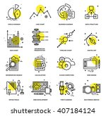 thin line icons set. business... | Shutterstock .eps vector #407184124