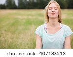 young woman with closed eyes... | Shutterstock . vector #407188513