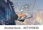 double exposure of businessman... | Shutterstock . vector #407195830