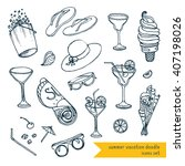 summer vacation outline icons ... | Shutterstock .eps vector #407198026