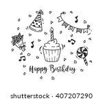 birthday doodle | Shutterstock .eps vector #407207290