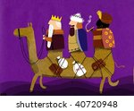 magical kings in a camel - stock photo