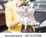 womans hand is holding a... | Shutterstock . vector #407219788