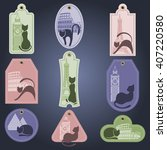 set of color labels with cat.... | Shutterstock .eps vector #407220580