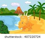 funny cute styracosaurus the... | Shutterstock . vector #407220724