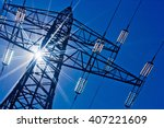 power line with sun | Shutterstock . vector #407221609