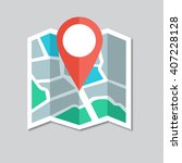 flat colored location icon | Shutterstock .eps vector #407228128