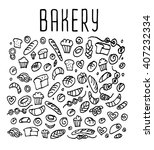 hand drawn bakery seamless logo ... | Shutterstock .eps vector #407232334