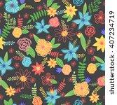 summer cute floral pattern ... | Shutterstock .eps vector #407234719