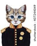Portrait Of Cat In Military...