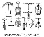 big set of corkscrew. vector... | Shutterstock .eps vector #407246374