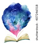 watercolor open book with magic ... | Shutterstock . vector #407246518