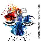 lord shiva.eyes.watercolor... | Shutterstock . vector #407248738