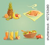 healthy food and drinks cartoon ... | Shutterstock .eps vector #407252680