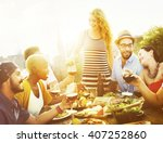 celebrate dining friendship... | Shutterstock . vector #407252860