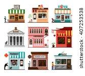 retro set of detailed flat... | Shutterstock .eps vector #407253538