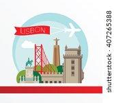 lisbon  detailed silhouette.... | Shutterstock .eps vector #407265388