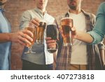 male group clinking glasses of... | Shutterstock . vector #407273818