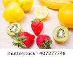 harvest juicy fruit and berries.... | Shutterstock . vector #407277748