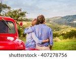 senior couple hugging  vintage... | Shutterstock . vector #407278756