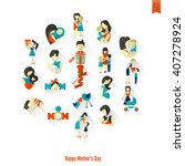 happy mothers day simple flat... | Shutterstock .eps vector #407278924