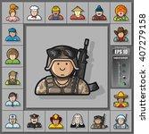 large set of contour avatars of ... | Shutterstock .eps vector #407279158