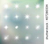 set of glowing light effect... | Shutterstock .eps vector #407280334