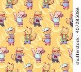 seamless pattern   funny... | Shutterstock .eps vector #407285086