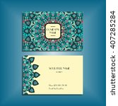 oriental business card mockup... | Shutterstock .eps vector #407285284