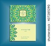 oriental business card mockup... | Shutterstock .eps vector #407285290