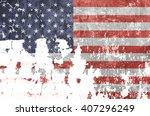 old usa flag. grunge background | Shutterstock . vector #407296249