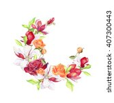 greeting card with flowers ... | Shutterstock . vector #407300443