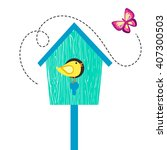 blue cartoon bird house with... | Shutterstock .eps vector #407300503