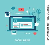 flat style social media... | Shutterstock .eps vector #407302588