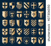 large set of gold heraldic... | Shutterstock .eps vector #407306050