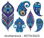 set for design with peacock... | Shutterstock .eps vector #407315623
