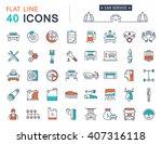 set vector line icons car...